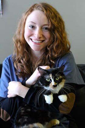 Emily Jamnicky holding a cat