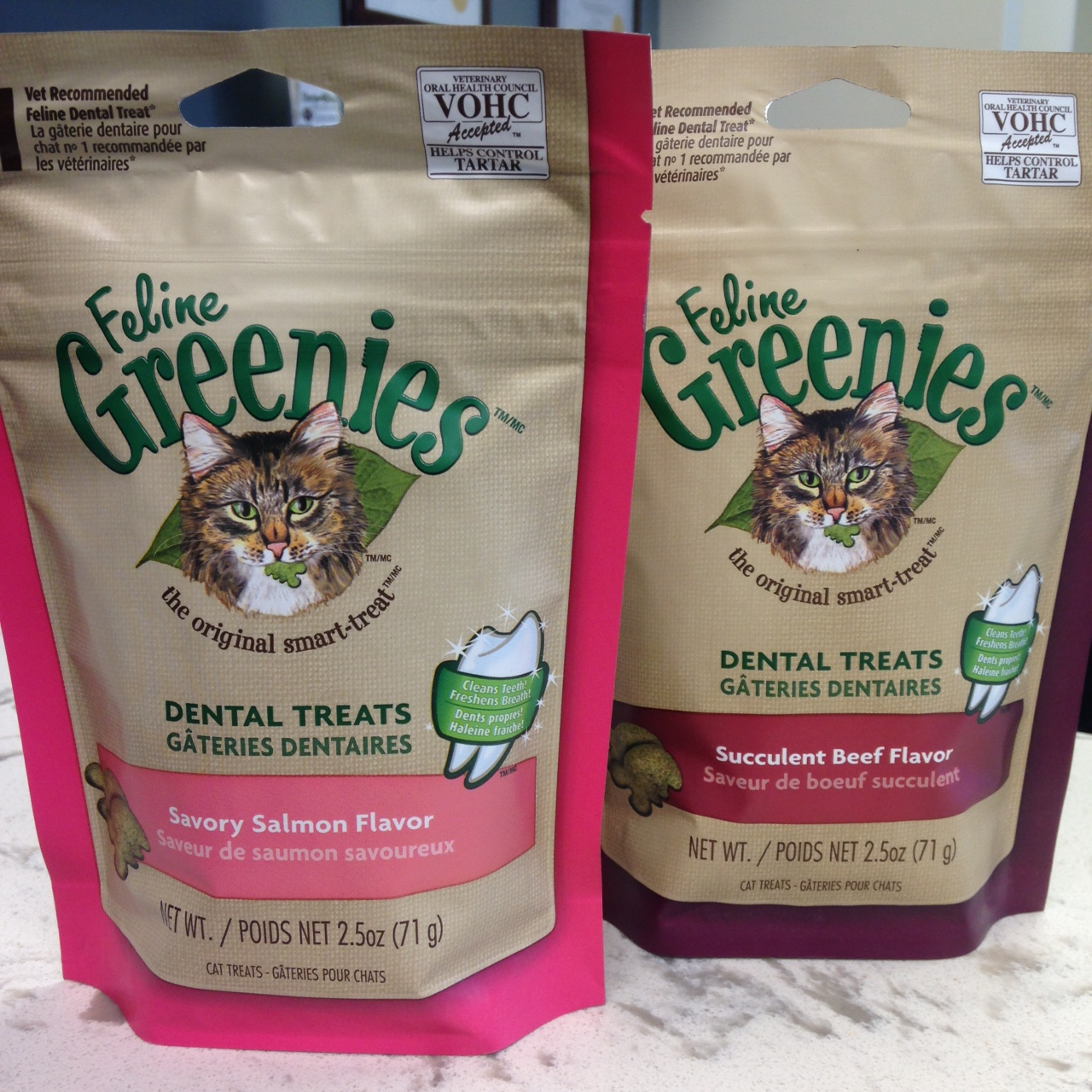 Two bags of Feline Greenies dental treats